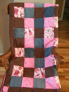 Pink Baby Girl Quilt with Guitars and Boots