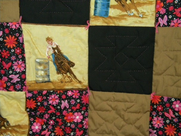 Barrel Racer Quilt with Black and Brown Material